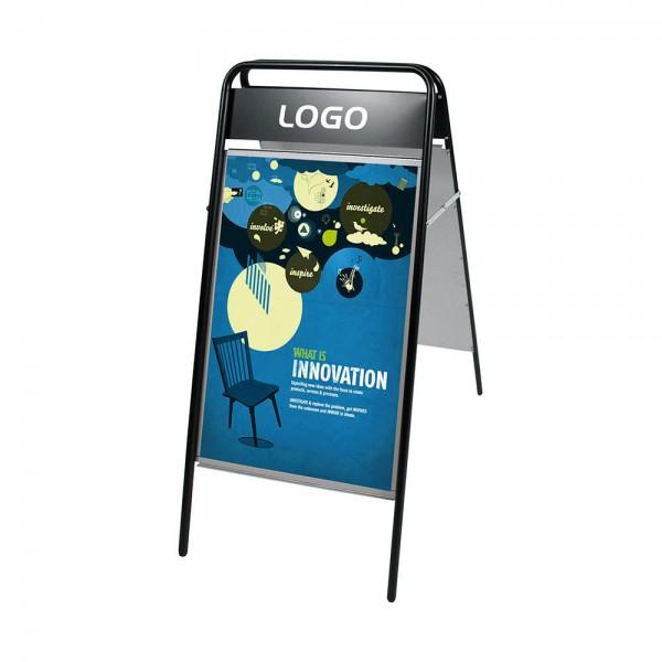 Plakataußenständer 500 x 700 eckig Logoplatte