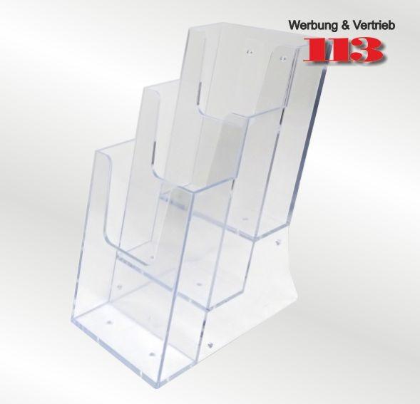 3-fach Tisch-Prospektständer Lang DIN Hochformat
